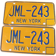 New York State NY Automobile Car License Plates Pair Set JML-243 Blue Orange 1974-86