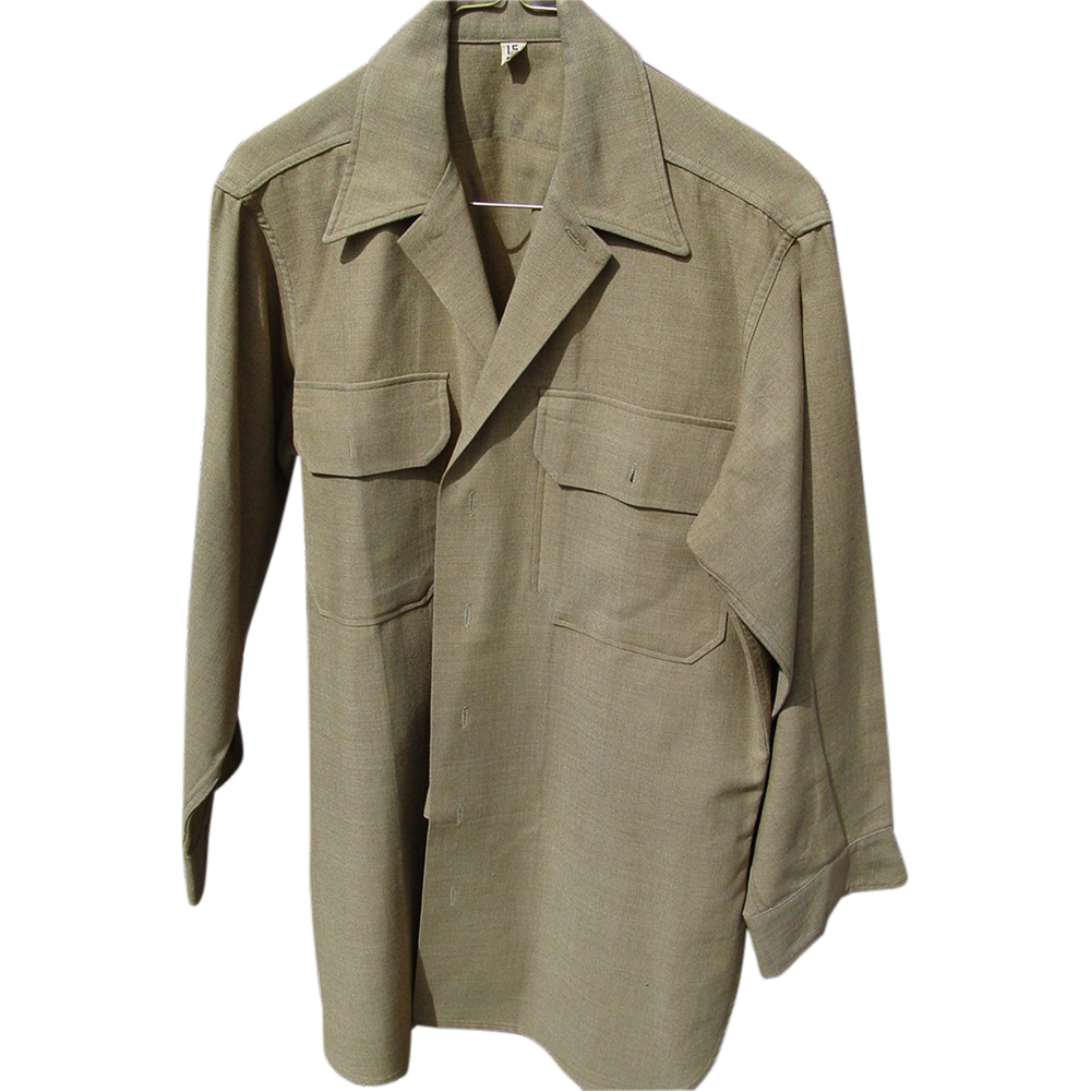 Military WWII Gas Flap Mustard Green Wool Shirt Size 15-32 with Neck Inside Buttons