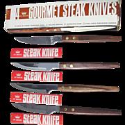 St. Regis Gourmet Steak Knives Set of 4 in Box Rosewood Handle Serrated Blade Japan