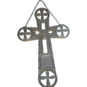 Longhorn Cow Cast Iron Cross Western Cowboy Ranch Wall Hanging Plaque