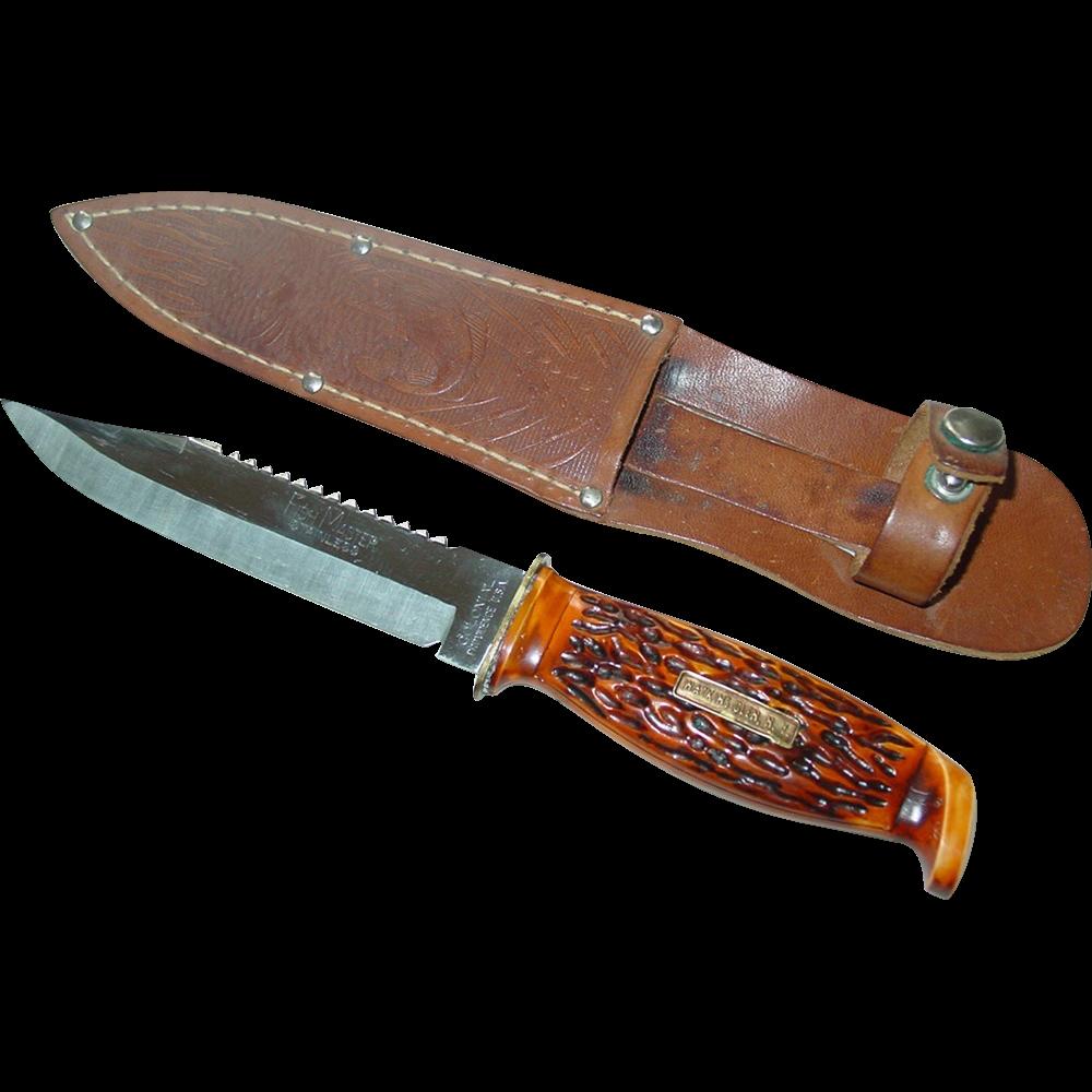 Colonial Fish Master Fishing Knife Watkins Glen NY Souvenir Leather Sheath Providence RI