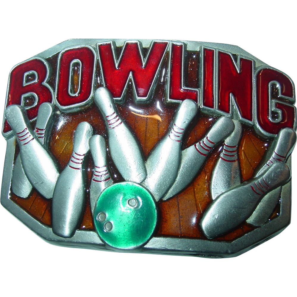 Bowling Belt Buckle Buckles of America Masterpiece Collection Pewter Enameled