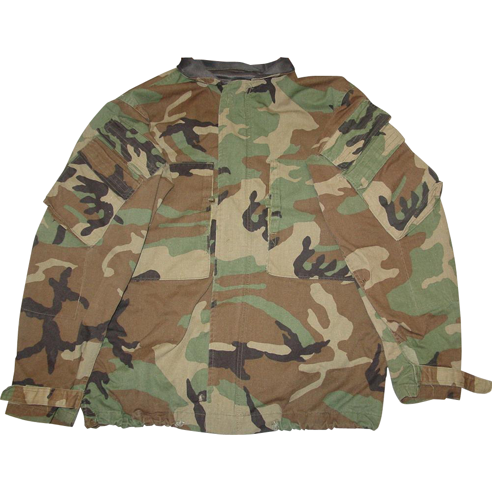 Military Jacket Chemical Protective Suit Size Small Woodland Camo Hunting Shirt 1986