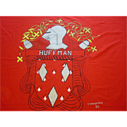 "Huffman Coat of Arms Flag German Family Crest Medieval Knight 45X60"" 1984"