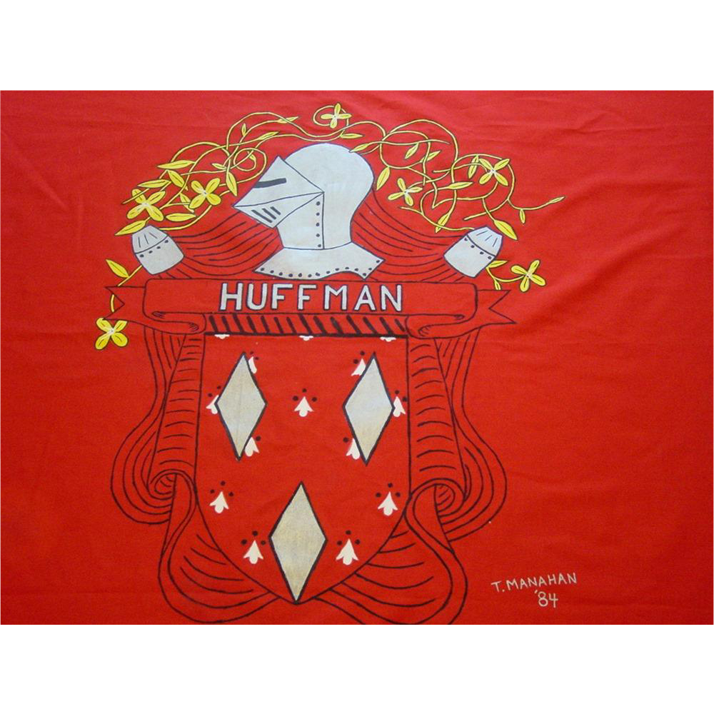 """Huffman Coat of Arms Flag German Family Crest Medieval Knight 45X60"""" 1984"""