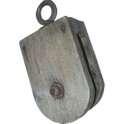 Wood Pulley Single Wheel Block & Tackle Maritime Ship Farm Barn Tool