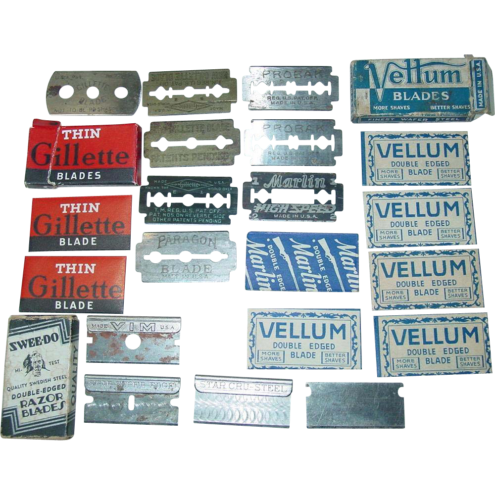 Razor Blades Gillette Marlin Vellum Probak Paragon Double Edge Swee-Do Vim Star