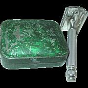 Gillette Razor 3 Piece Non-Adjustable Ball End Tech Safety Shaving in Tin Case
