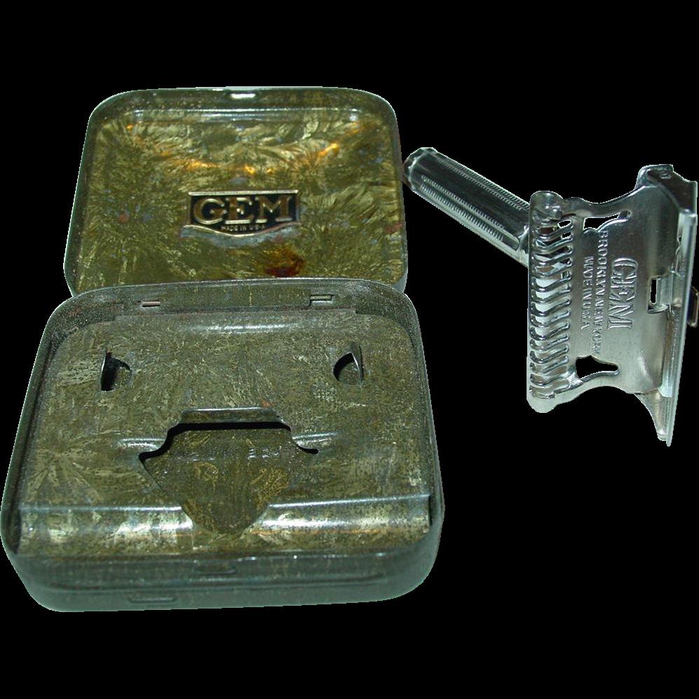 Gem 1912 Razor Single Edge Brooklyn New York Non-Adjustable Safety Shaving Tin Case