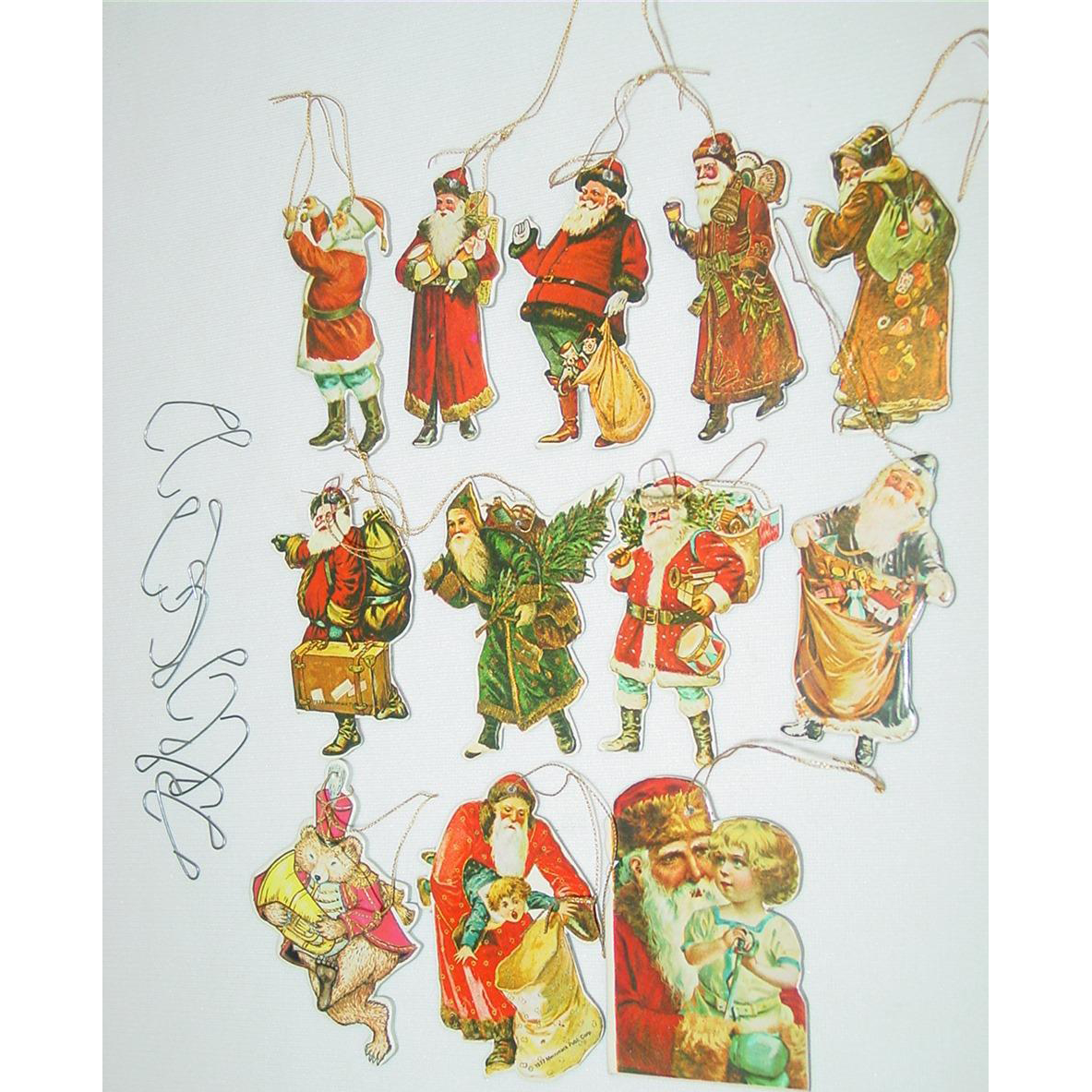 Merrimack Christmas Tree Ornaments Santa Clause Die Cut Victorian Style 2 Sided