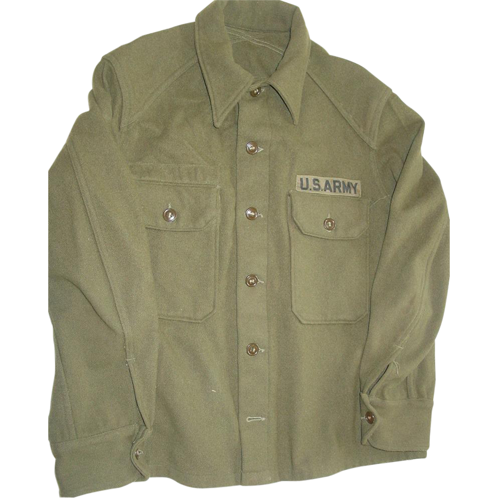 Military Wool Field Shirt Cold Weather Size Medium Army Olive Green OD Hunting