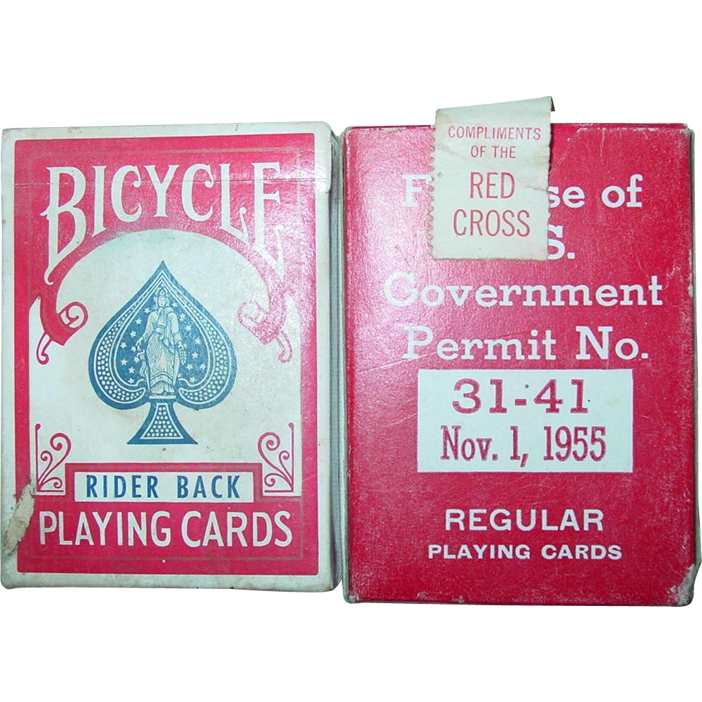 Red Cross Playing Cards 1955 for use of U.S. Government Military Bicycle Rider Back