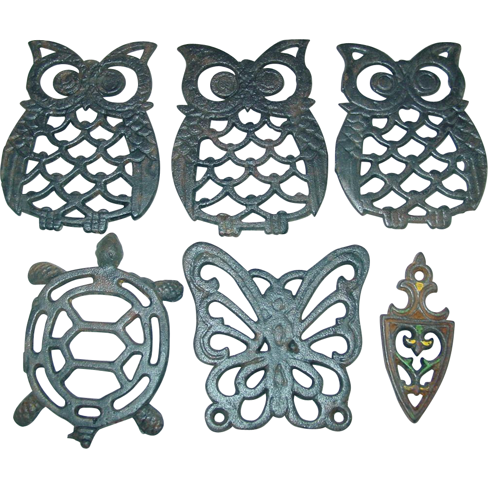 Owls Butterfly Turtle Trivet Cast Iron Wall Hanging Decoration 6 Piece Taiwan Black