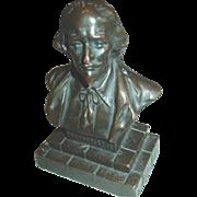 William Shakespeare Bust Brass Colored Metal Figure Desk Shelf Felt Bottom