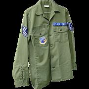 Military Vietnam War Air Force Fatigue Shirt Cotton 15X33 Medium Uniform