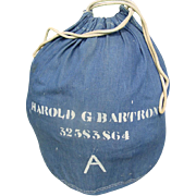 Military Laundry Barracks Bag WWII Navy Blue Canvas Stenciled Laundry Army Marines
