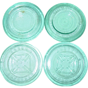 Blue Glass Mason Improved Maltese Cross Aqua Canning Jar Cover Lids