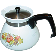 Corning Ware Spice of Life Tea Pot 6 Cup with Metal Cover P-104 Teapot