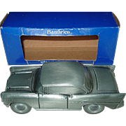 Banthrico 1957 Chevrolet Classic Coin Bank Metal Cast Pewter © 1974 Chicago in box