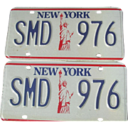New York State Statue of Liberty License Plates NY Automobile Car Pair Set SMD 976