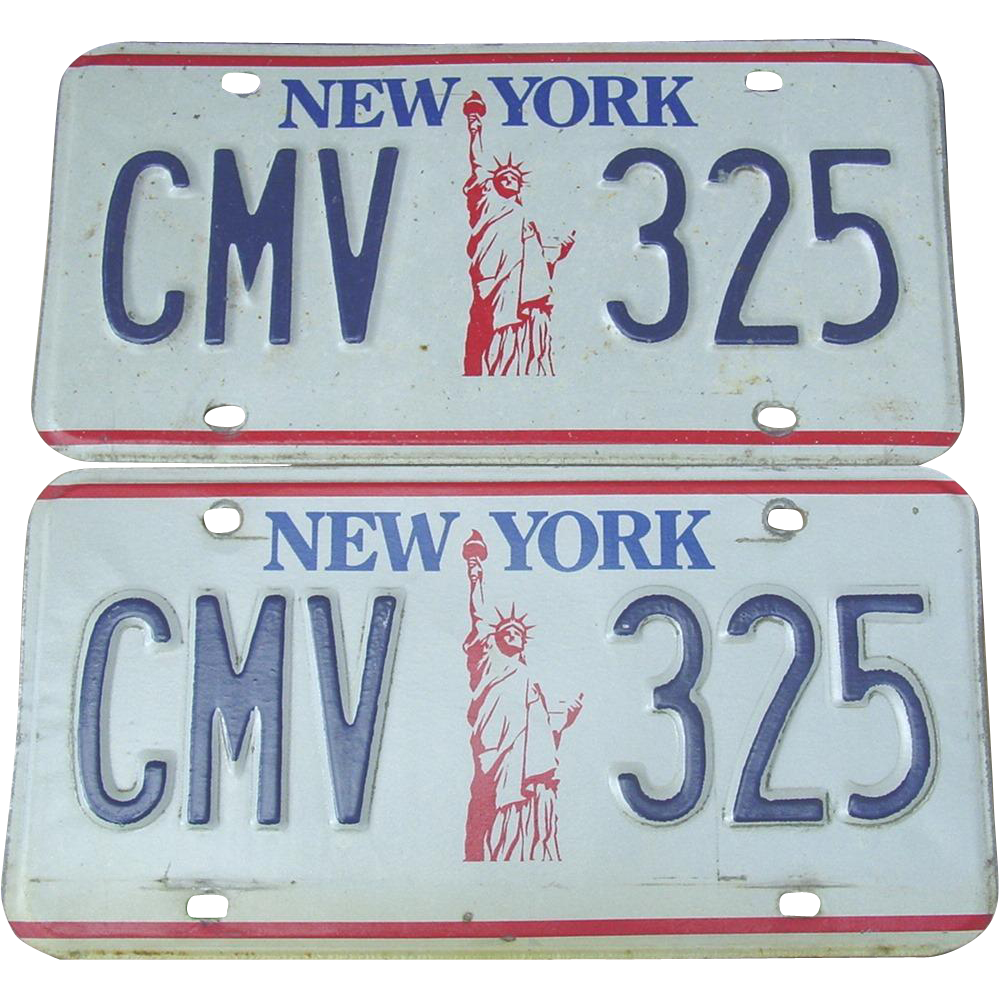 New York State Statue of Liberty License Plates NY Automobile Car Pair Set CMV 325