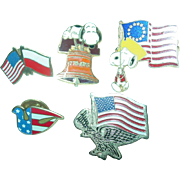 Peanuts Snoopy Pins Aviva Patriotic Flag Liberty Bell & U.S.A. Eagle Dove Poland