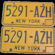 New York State 5291-AZH Automobile Car License Plates Pair Set Blue Orange 1974-86