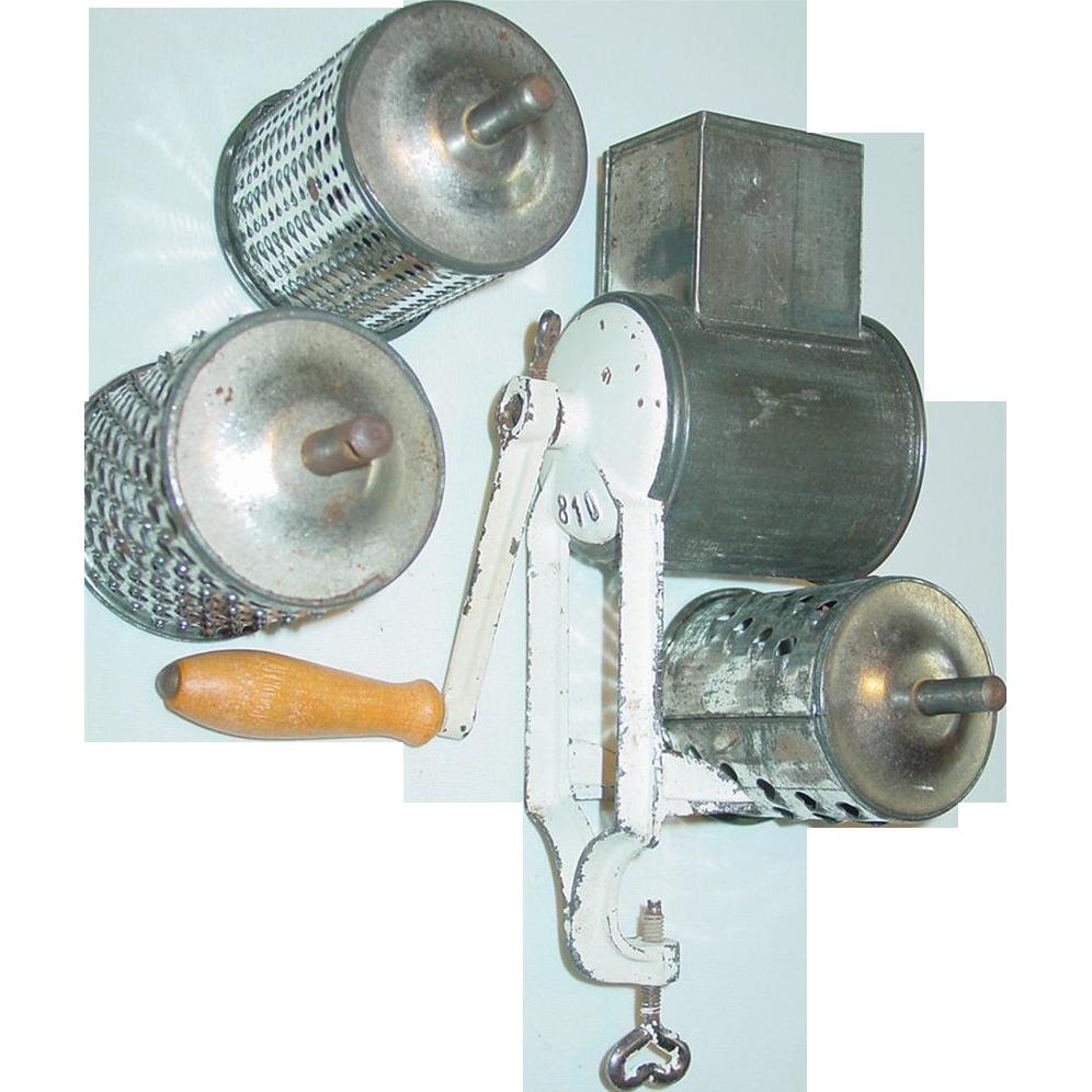 Food Mill Grater Chopper Slicer Grinder Cast Iron Frame 4 Drums 810 Wood Handle