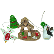 Wood Christmas Tree Ornaments Taiwan Manger Nativity Bell Snowman Bird