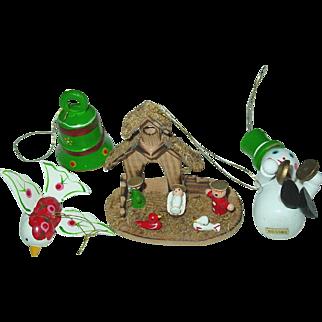 Wood Christmas Tree Ornaments Taiwan Manger Nativity Bell Snowman Bird