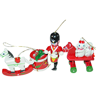 Wood Christmas Tree Ornaments Drummer Drum Rocking Horse Teddy Bears Taiwan