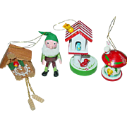 Wood Christmas Tree Ornaments Bird House Elf Cuckoo KooKoo Clock Taiwan