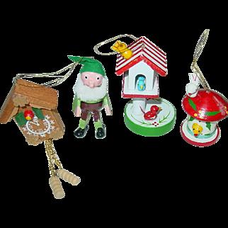 Wood Christmas Tree Ornaments Bird House Elf Cuckoo KooKoo Clock Taiwan