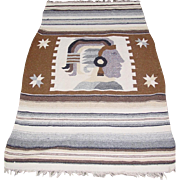 "Aztec Mayan Woven Blanket Maya Inca Indian Fringe Rug 50X80"" Mexican Wall Art"