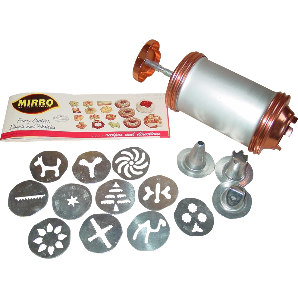Mirro Cookie Cooky Press Copper Colored Aluminum 11 Shape Plates 3 Pastry Tips