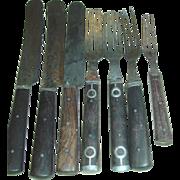 Civil War Era Cutlery 3 & 4 Tine Forks Knives Walnut Handles Pewter Sets