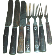 Civil War Era Cutlery 3 & 4 Tine Forks Knives Walnut Handles Pewter Sets