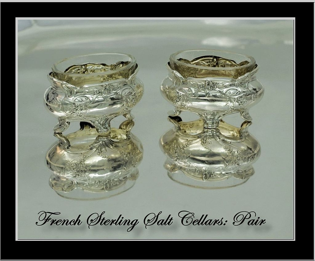 Antique French Sterling Salt Cellars: Mistletoe Decoration!
