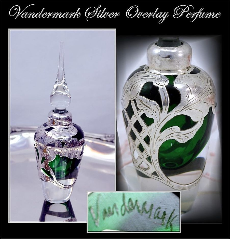 Vandermark Thick .999 Sterling Silver Overlay Perfume MInt!
