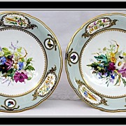Pair Elegant Antique Copeland HP Porcelain Compotes Tazzas