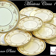 12 Antique Mintons Dinner Plates Encrusted Gold on White