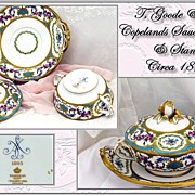 Exceptional Antique HP Porcelain Candy Dish; Sauce, Cover & Stand