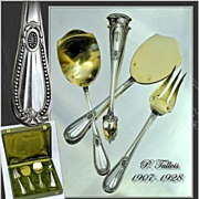 French Sterling Silver Vermeil Condiment Hors d'Oeuvre Set Box