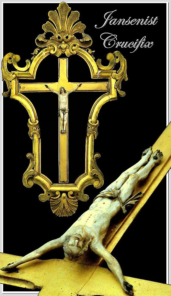 Antique Jansenist Crucifix w/ Elaborate Gesso Frame