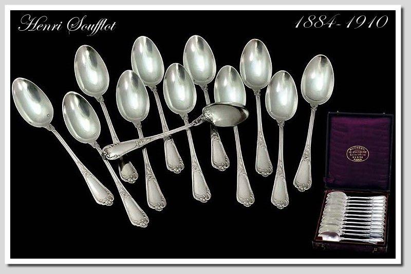 Henri Souflott: Twelve Antique French Sterling Silver Teaspoon Set