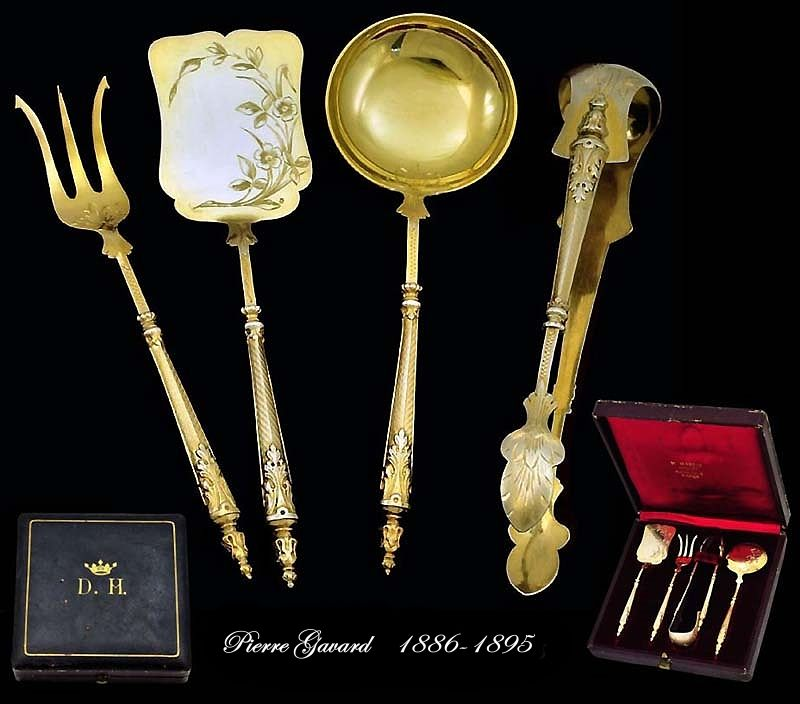 Pierre Gavard: Antique French Sterling Vermeil Hors d'Oeuvres Set Boxed Crown!