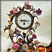 Antique Ormolu & Porcelain Clock Decorated w Amazing Flowers Bird