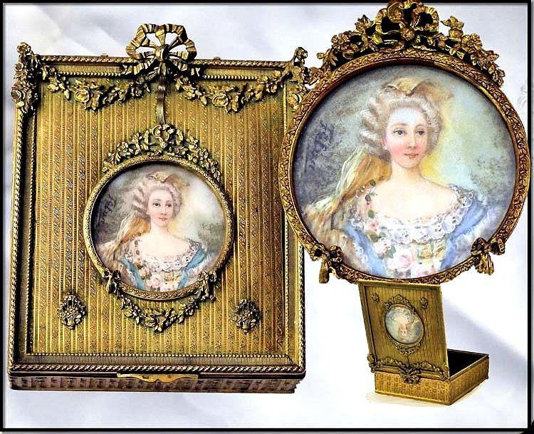 Antique French Dore Bronze Casket w/ HP Portrait Miniature on Ivory