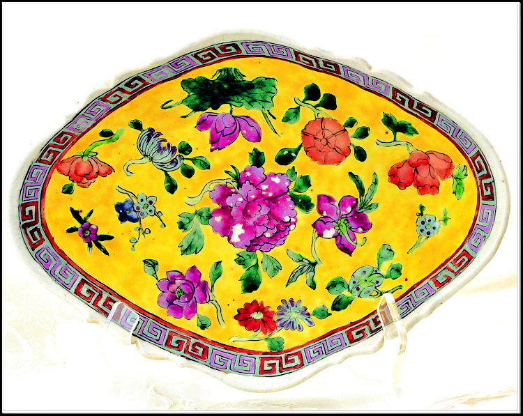 Antique Chinese Export Famille Jaune Footed Platter Signed
