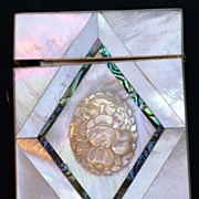 Exceptional Antique Sculpted Mother of Pearl Card Case